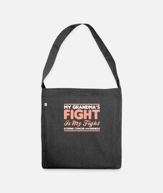 Cancer Survivor Bags & Backpacks - Uterine Cancer My Grandmas Fight is My Gift - Shoulder Bag recycled heather black