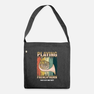 Player Retro French Horn Player Horn Instrumentalist - Shoulder Bag recycled