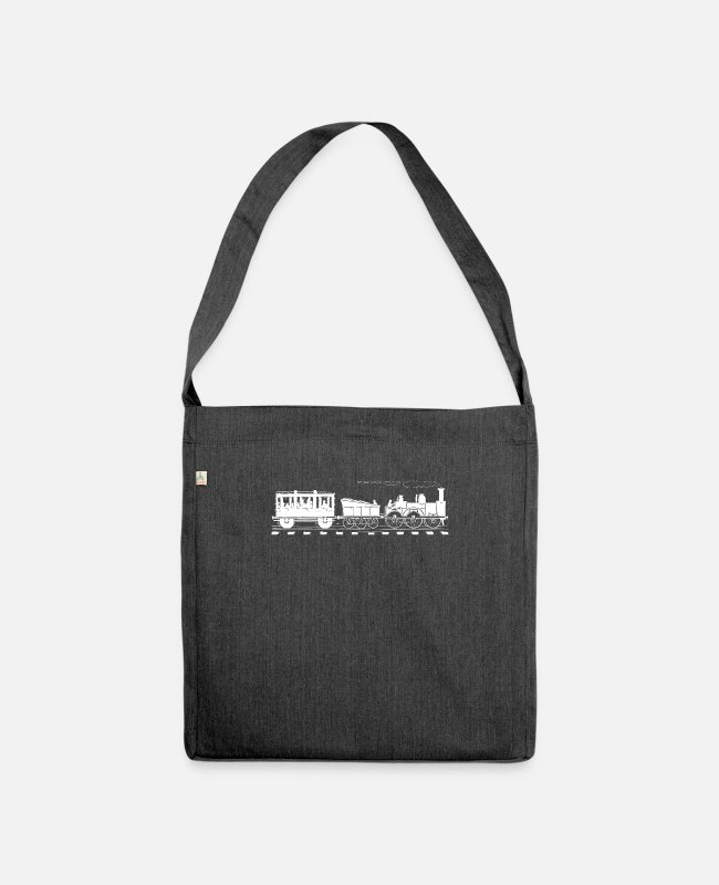 Training Bags & Backpacks - Train Lover Gift Vintage Railroad Trains - Shoulder Bag recycled heather black