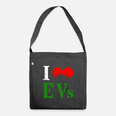 Electricity I Love Electric Cars ECar Heart Green Vehicle Gift - Shoulder Bag recycled