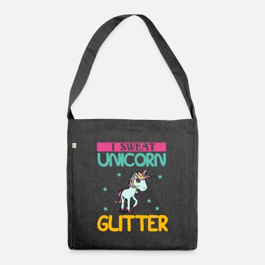 Cool Quote I sweat unicorn glitter - Shoulder Bag recycled
