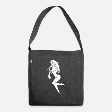 pinup girl with champain - Shoulder Bag recycled