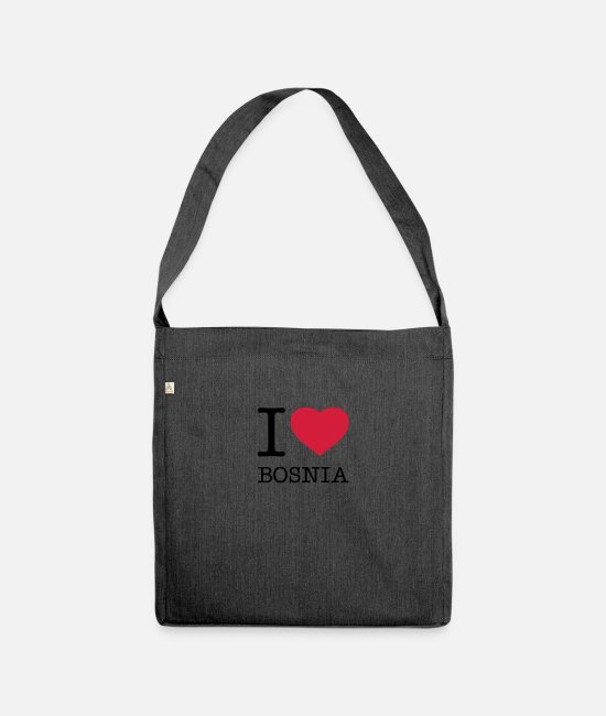 I Love Bags & Backpacks - I LOVE BOSNIA - Shoulder Bag recycled heather black