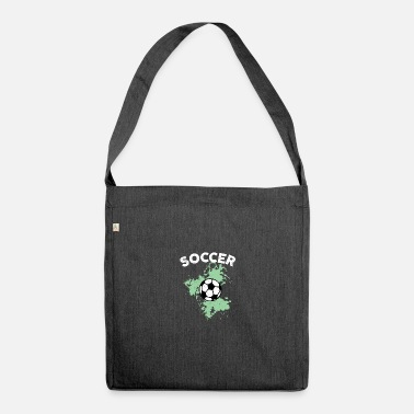 Gardien De But Aquarelle de football vert - Sac bandoulière recyclé