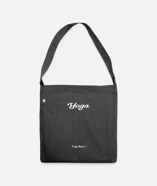 Bless You Bags & Backpacks - Yoga signature anniversary celebration - Shoulder Bag recycled heather black