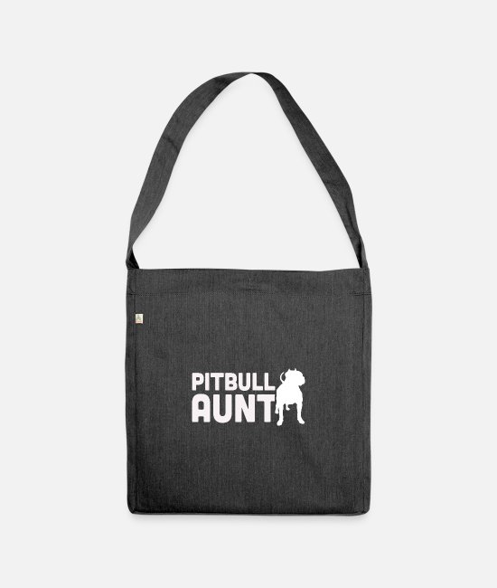 Dog Owner Bags & Backpacks - Pitbull aunt - Shoulder Bag recycled heather black