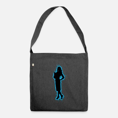Background Girl Light Blue and Black Outline - Shoulder Bag recycled