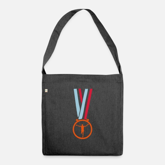 Marathon Bags & Backpacks - champion marathon medal - Shoulder Bag recycled heather black