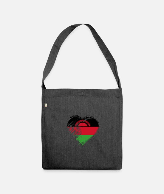 Heart Bags & Backpacks - Grungy I Love Malawi Heart Flag - Shoulder Bag recycled heather black