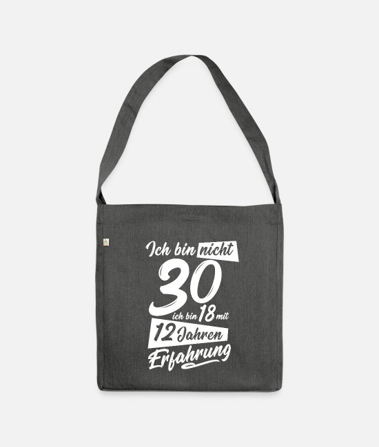 30th Birthday Bags & Backpacks - 30th birthday present - Shoulder Bag recycled dark grey heather