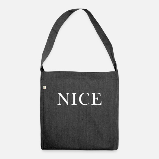 Sayings Bags & Backpacks - NICE - Shoulder Bag recycled heather black