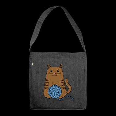 Tender Kitty with Worsted Scroll - Shoulder Bag made from recycled material