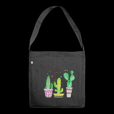 Cactus, cactus, cactus with garland - Shoulder Bag made from recycled material