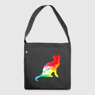 Rainbow Watercolour Pride Kitty - Shoulder Bag made from recycled material