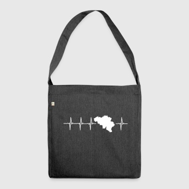 Belgium, heartbeat design (I love Belgium) - Shoulder Bag made from recycled material