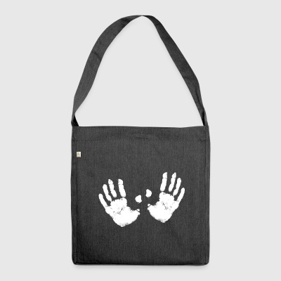 2hand white hands paint handprint Bobbs breast - Shoulder Bag made from recycled material