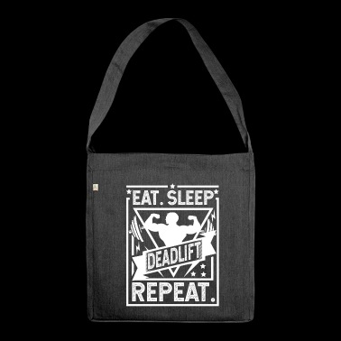 Eat Sleep Deadlift Repeat - deadlift - Schoudertas van gerecycled materiaal