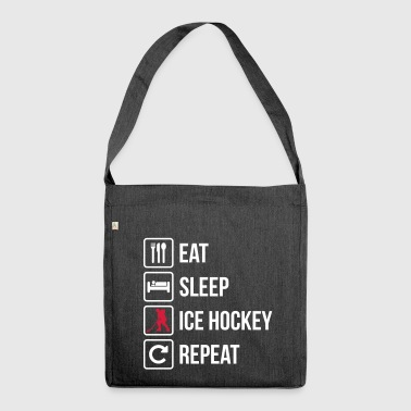 Eat Sleep Ice Hockey Repeat - Schoudertas van gerecycled materiaal