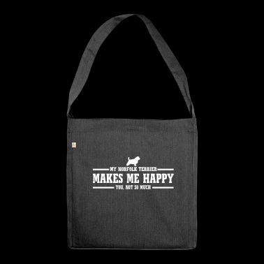 NORFOLK TERRIER makes me happy - Schultertasche aus Recycling-Material