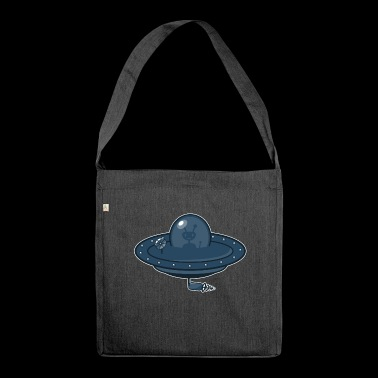 Flying saucer and Alien - Shoulder Bag made from recycled material