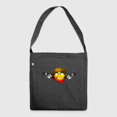 Smiley mit Revolver - Schultertasche aus Recycling-Material