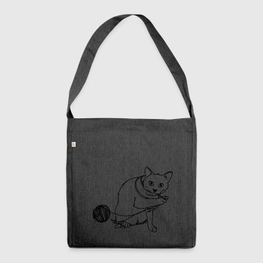 Playing cat - Shoulder Bag made from recycled material