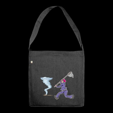 Funny storm hunter with net catching around tornado - Shoulder Bag made from recycled material