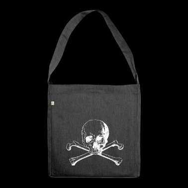 Skull with crossbones - Shoulder Bag made from recycled material