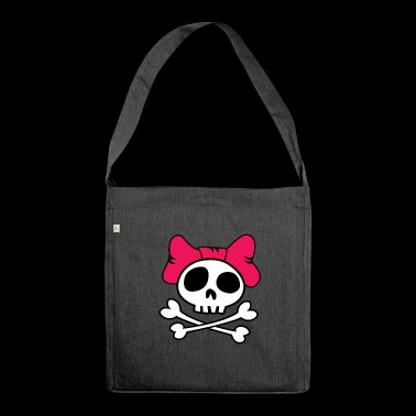 Girly skull - Shoulder Bag made from recycled material