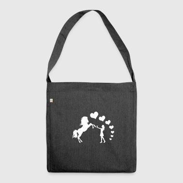 Horse heart love girl gift idea equitation - Shoulder Bag made from recycled material