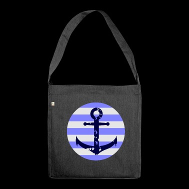 Anchor white-blue - Shoulder Bag made from recycled material