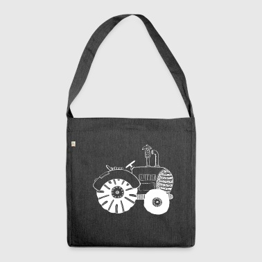 White Tractor - Tractor - Tractors - Comic - Shoulder Bag made from recycled material