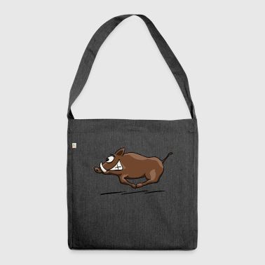 Wild boar wild boar boar hunter hunting gift - Shoulder Bag made from recycled material