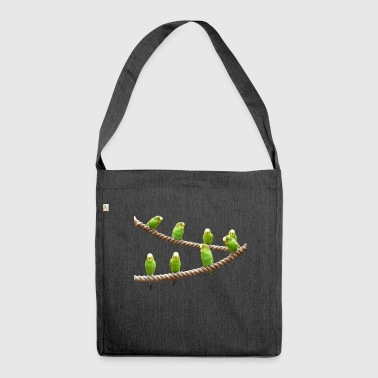 waves budgie birds voegel - Shoulder Bag made from recycled material