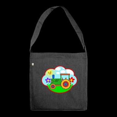 Green Traktot on the meadow - Shoulder Bag made from recycled material