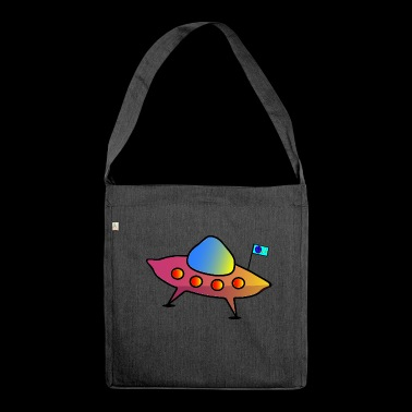 UFO, flying saucer, spaceship, scifi - Shoulder Bag made from recycled material