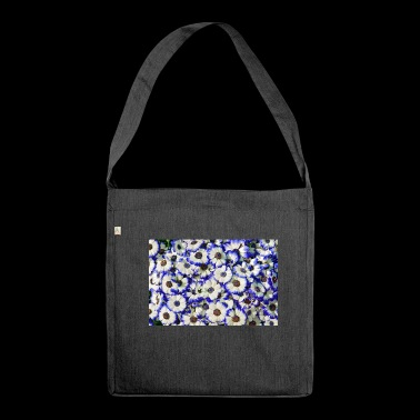 Blue white daisies - Shoulder Bag made from recycled material