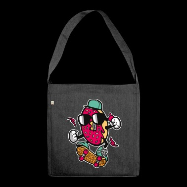 SKATING DONUT - cartoon character skater gift cartoon - Shoulder Bag made from recycled material