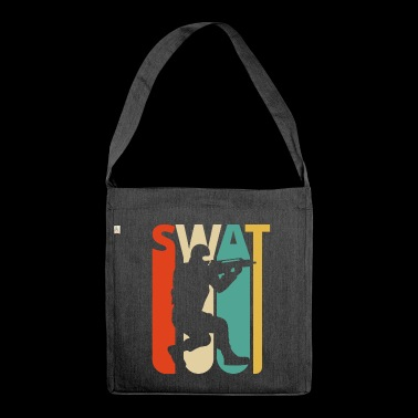 Weinlese-Retro Swat Team.CO19. Polizei. Swat Offizier - Schultertasche aus Recycling-Material