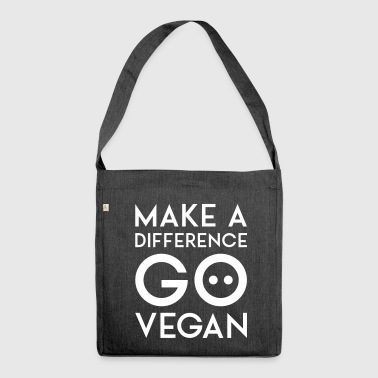 MAKE A DIFFERENCE GO VEGAN white - Shoulder Bag made from recycled material