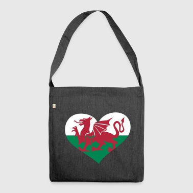 Wales Herz; Heart Wales - Shoulder Bag made from recycled material