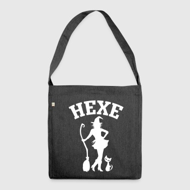 Hexe mit Katze CatRina - Schultertasche aus Recycling-Material