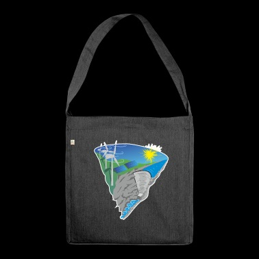 Solar Wind Water Renewable Energy Environmental Protection - Shoulder Bag made from recycled material