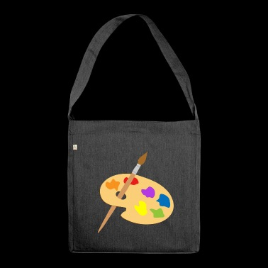 Palette of paint and brush - Shoulder Bag made from recycled material
