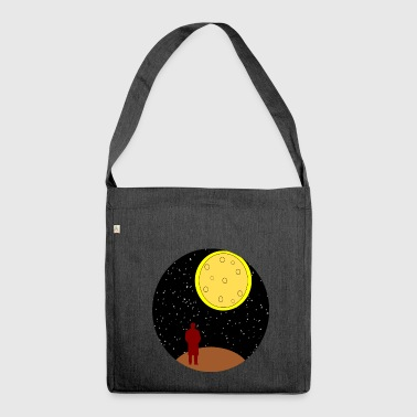 man stairing at moon - Shoulder Bag made from recycled material