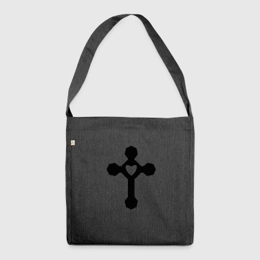 Heart religious cross - Shoulder Bag made from recycled material