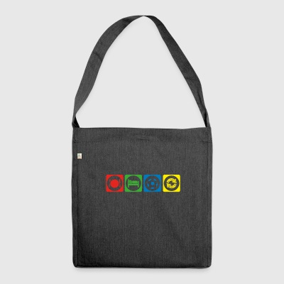gift eat sleep repeat football ultras stuermer - Shoulder Bag made from recycled material