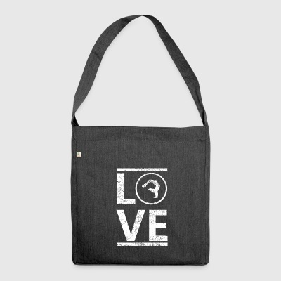 love liebe calling hobby king meister yoga meditat - Schultertasche aus Recycling-Material