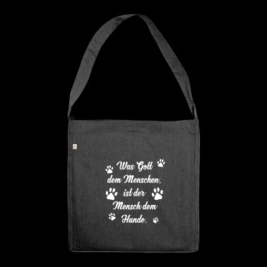 Hund Hunde spruch liebe hundemama gassi pfote 01 - Schultertasche aus Recycling-Material