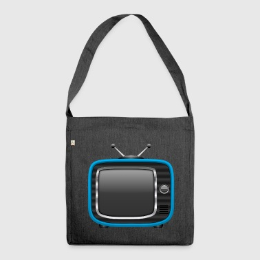 Retro Tv Blau 002 AllroundDesigns - Schultertasche aus Recycling-Material